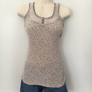 Free People Floral Ribbed Tank Top with Lace Trim